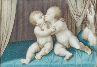 École française du XVIIIe siècle  Deux enfants...