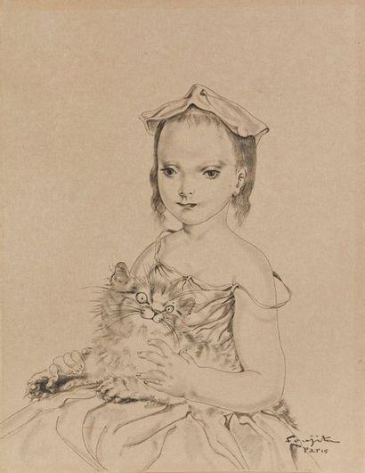 Leonard FOUJITA (1886-1968)  Petite fille...