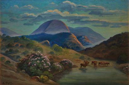 Roméo Charles AGLIETTI (1878-1956)  Paysage...