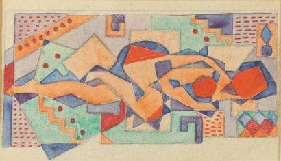 Jean METZINGER (1883-1956)  Nu cubiste allongé...