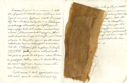 ÉGYPTOLOGIE. Manuscrit avec 2 morceaux de...