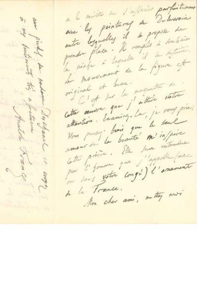 Anatole FRANCE (1844-1924). L.A.S., La Béchellerie...