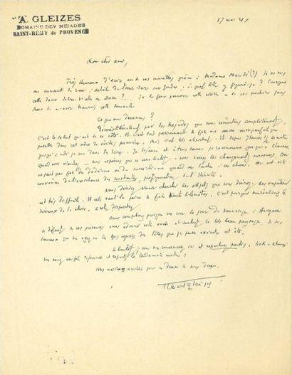 Albert GLEIZES (1881-1953). L.A.S., Saint-Rémy...