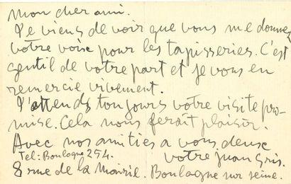 Juan GRIS (1887-1927). L.A.S., Boulogne sur...
