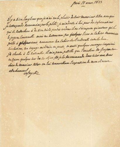 Marie-Joseph de LAFAYETTE (1757-1834). L.A.S.,...