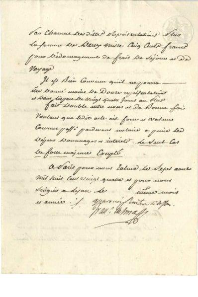 François TALMA (1763-1826). P.S. avec apostille...