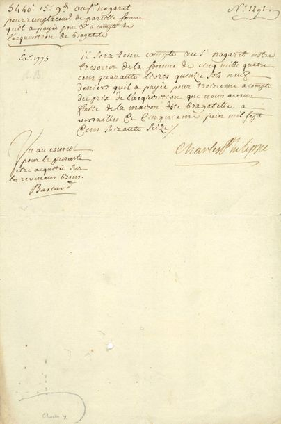 CHARLES X (1757-1836). P.S. « Charles Philippe...