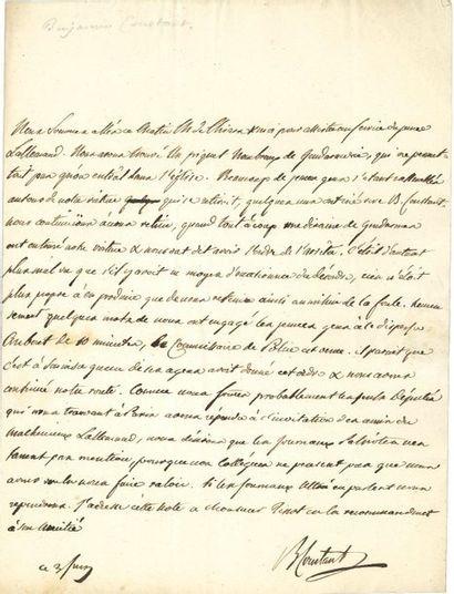Benjamin CONSTANT (1767-1830). L.A.S., 3...