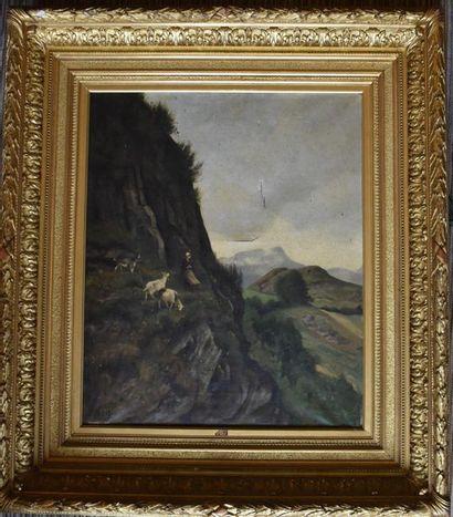 Eugène DEVÉ (1826-1887) : La petite chevrière....