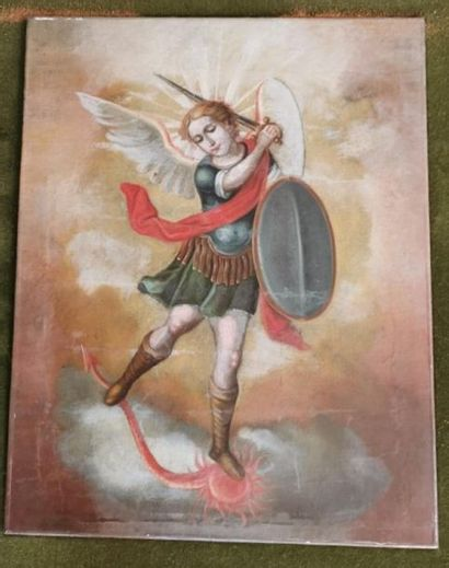 PEINTURE sur toile, style de Cuzco : Saint...