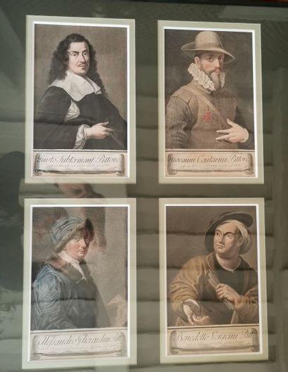 QUATRE GRAVURES imprimées en couleurs : Portraits...