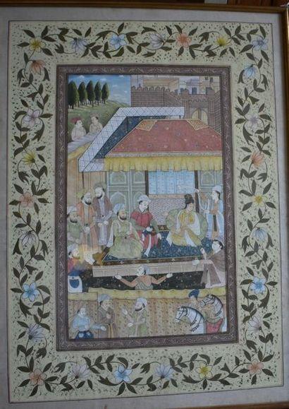 SOUS-VERRE : Scène de palais aux Indes. Haut....