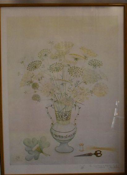 Jellah BEN ABDALLAH : Vase de fleurs. Lithographie,...