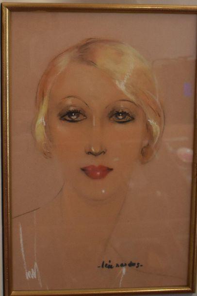PASTEL : Femme en buste. Signé Léa NAUDUS....