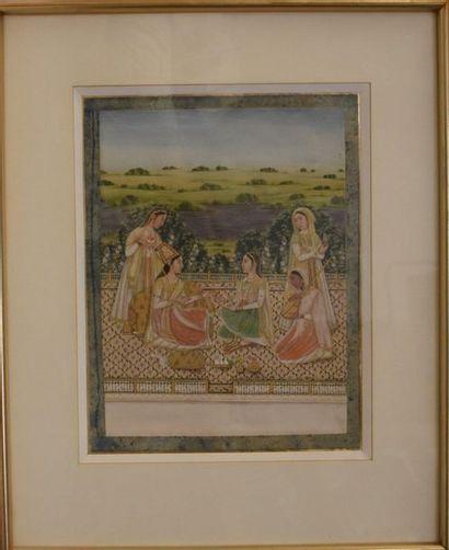 MINIATURE indienne : Cinq femmes sur une...