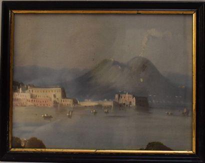 TOILE SOUS-VERRE : Vue de Naples. Haut. 19...