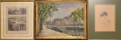LOT : Peinture Quai de Paris (Haut. 23 -...