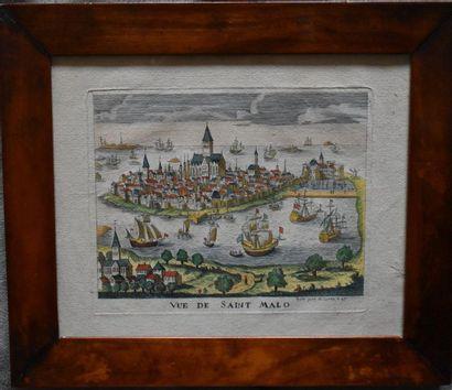 PETITE GRAVURE en couleurs : Saint-Malo....