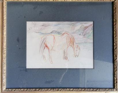 Oskar KOKOSCHKA (att. à) : Etude de cheval....