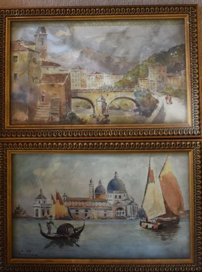 DEUX AQUARELLES : Venise. Signées PRAT. Haut....
