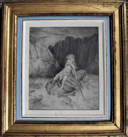 ESTAMPE d'après Gustave Doré : La barque...