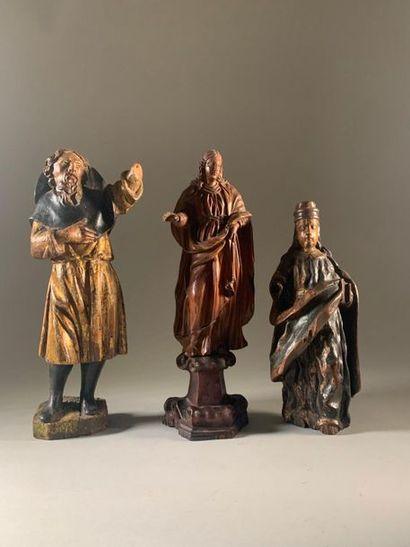 Trois statuettes religieuses dont une sainte...