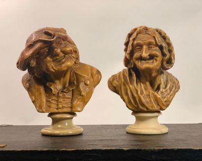 Deux bustes en cire sur socle en albâtre...