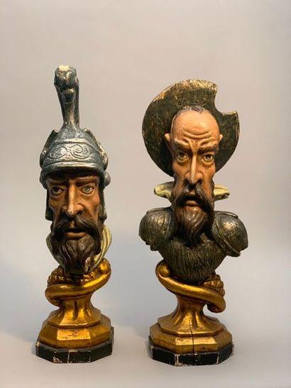 Paire de têtes polychromes représentant Don...