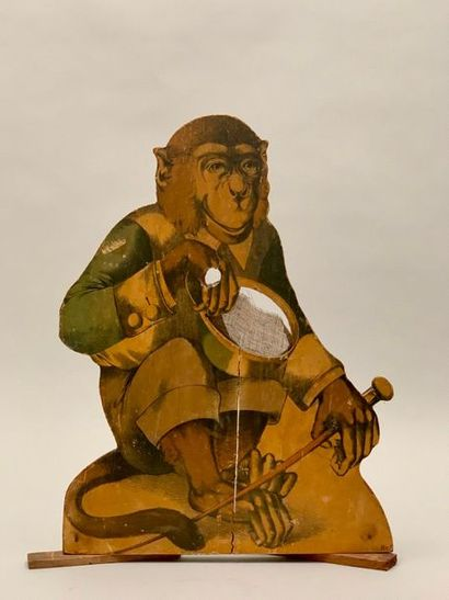 Jeu figurant un singe déguisé, panneau découpé...