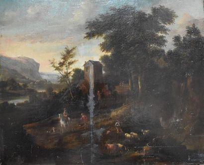 Ecole flamande dans le goût du XVIIIe siècle....