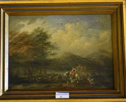 ECOLE FRANÇAISE vers 1800 : Paysans, chèvres...