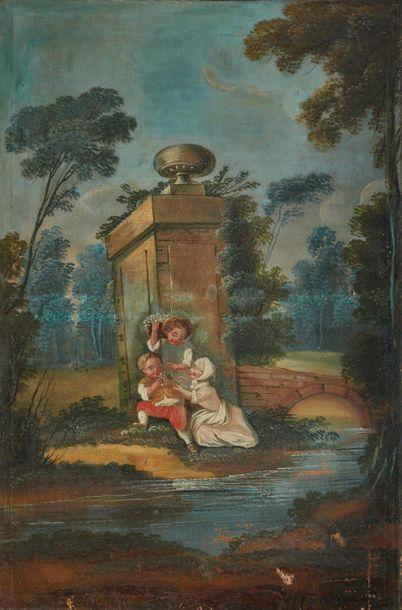 École française du XIXe siècle : Trois enfants...