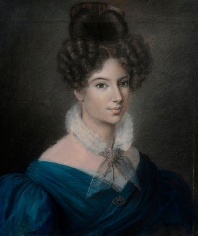 Ecole française vers 1840 : Portrait de jeune...