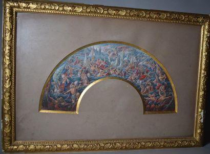 GOUACHE : projet d'éventail. XIXe siècle...