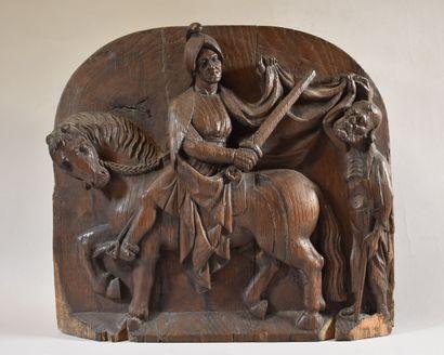 PANNEAU bois sculpté : La Charité de saint...