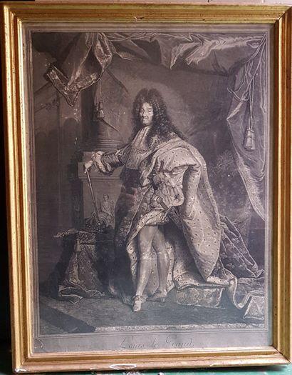 ESTAMPE en noir, d'après RIGAUD : Louis XIV...
