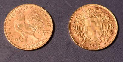DEUX PIECES de 20 francs suisses ou FF....