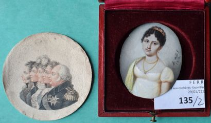 MINIATURE ovale : Portrait de femme. Signée...