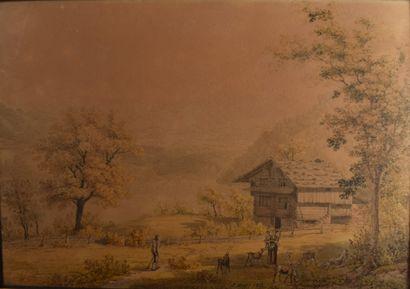 DEUX AQUARELLES : Paysages suisses animés....