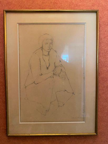 ECOLE FRANÇAISE du XXe siècle : Femme assise....