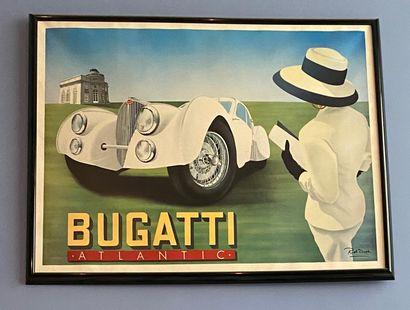 RAZZIA (né en 1950) : Affiche BUGATTI entoilée,...