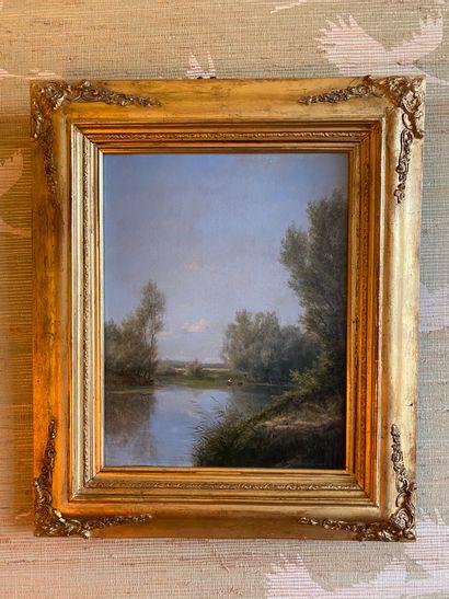 Jules ROZIER (1821-1882) : Pêcheur dans une...