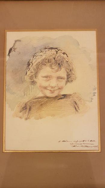 ECOLE FRANÇAISE vers 1900 : Portrait de...