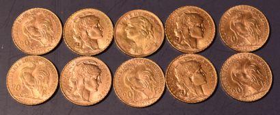 DIX PIECES or de 20 FF ou 20 francs suisses....