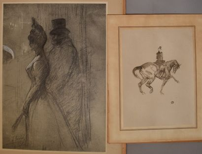 DEUX SOUS-VERRES reproductions d'après Toulouse-Lautrec...