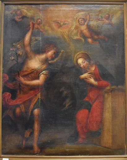 ECOLE ITALIENNE du XVIIIe siècle : L'Annonciation....