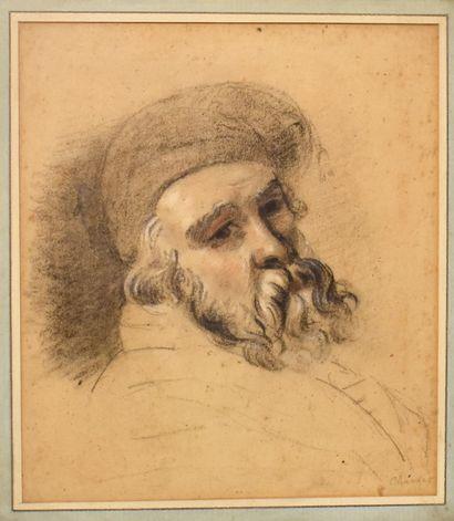 ECOLE FRANÇAISE du XIXe siècle : Tête d'homme...
