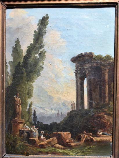 D'APRES Hubert ROBERT : Le Temple de la Sybille...