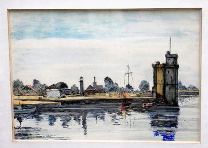 AQUARELLE : Port à la tour. Haut. 30 - Larg....