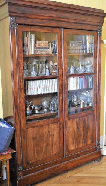 BIBLIOTHEQUE vitrine en acajou et placage...